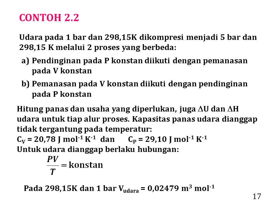 CONTOH 2.2 Udara pada 1 bar dan 298,15K dikompresi menjadi 5 bar dan 298,15 K melalui 2 proses yang berbeda: