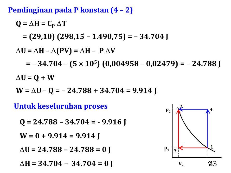 Pendinginan pada P konstan (4 – 2)