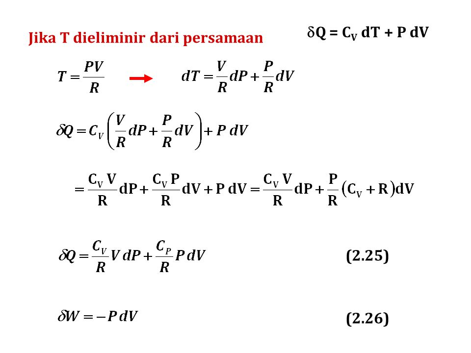 Q = CV dT + P dV Jika T dieliminir dari persamaan (2.25) (2.26)