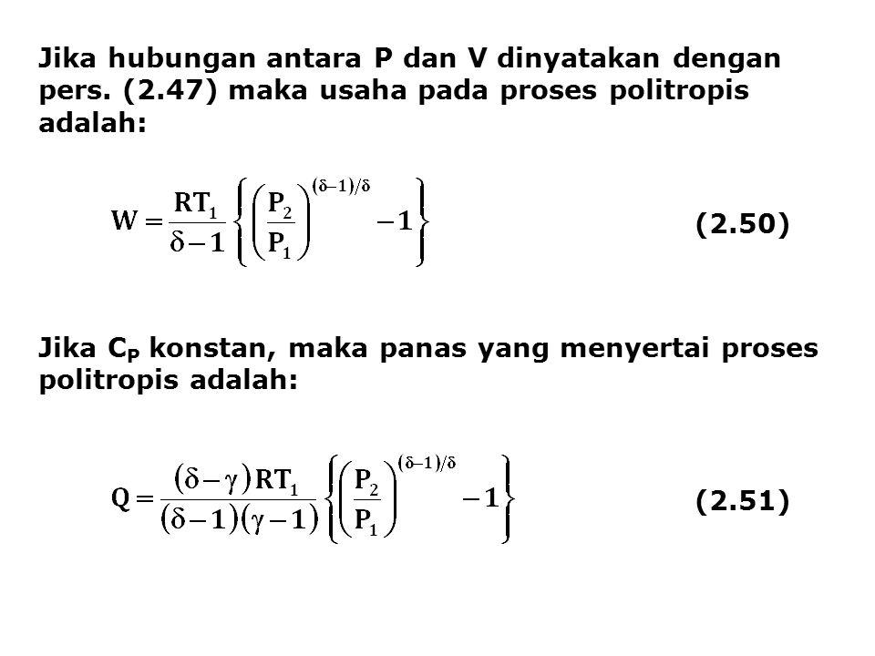 Jika hubungan antara P dan V dinyatakan dengan pers. (2