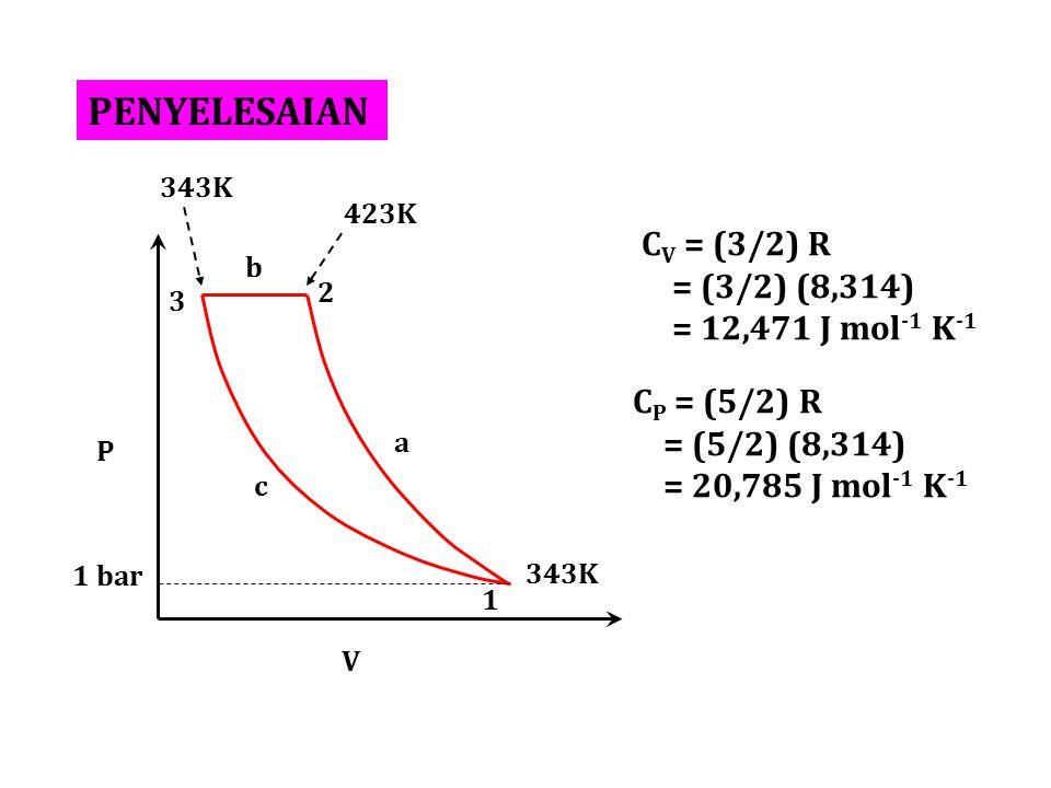 PENYELESAIAN CV = (3/2) R = (3/2) (8,314) = 12,471 J mol-1 K-1