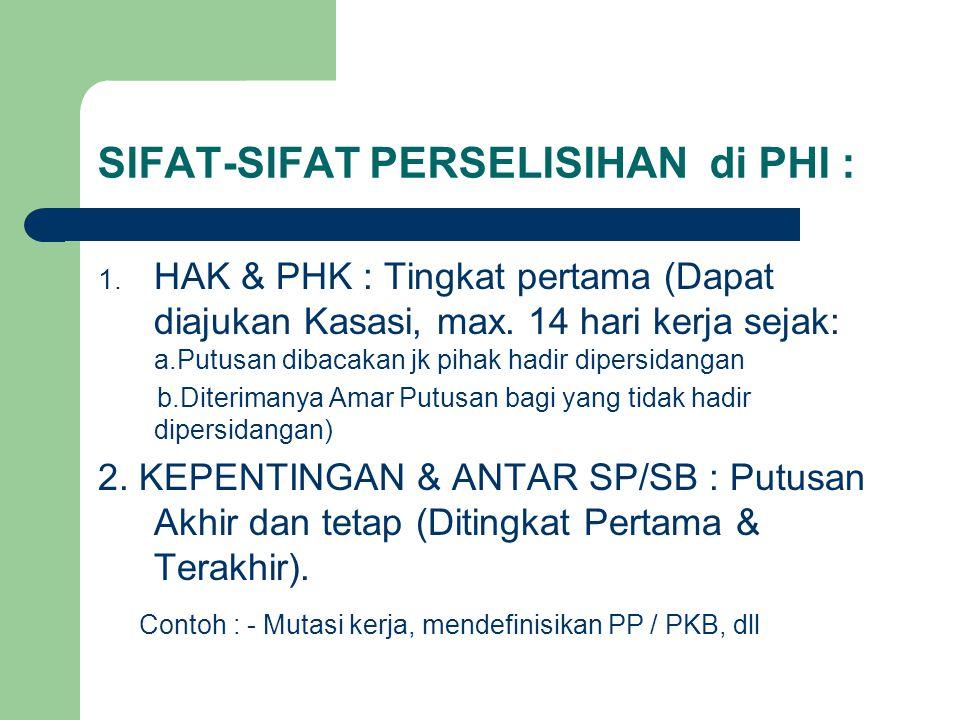 SIFAT-SIFAT PERSELISIHAN di PHI :