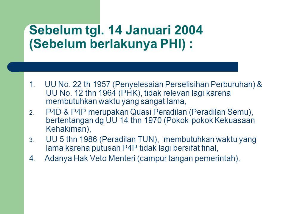 Sebelum tgl. 14 Januari 2004 (Sebelum berlakunya PHI) :
