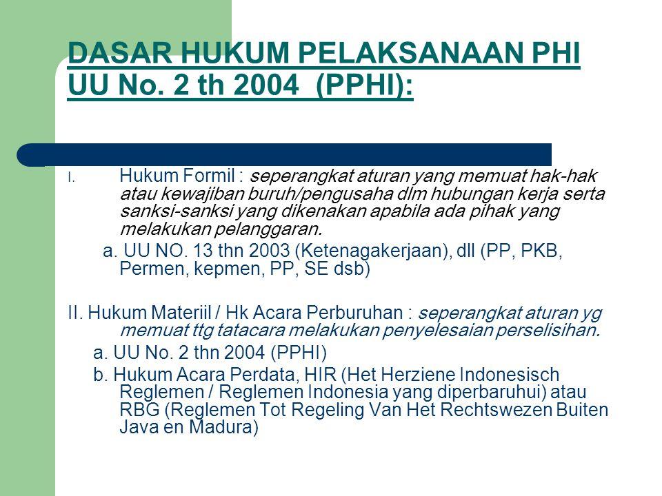 DASAR HUKUM PELAKSANAAN PHI UU No. 2 th 2004 (PPHI):