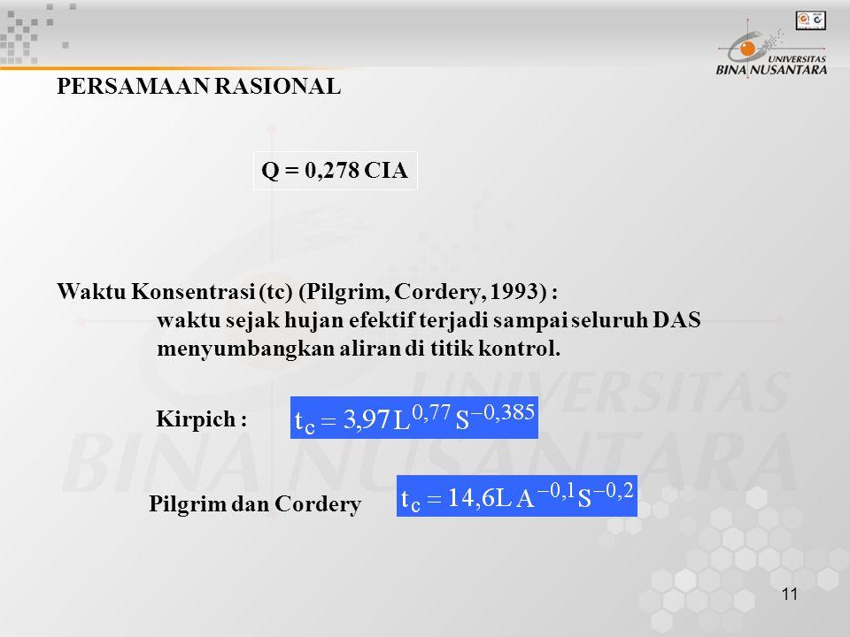 PERSAMAAN RASIONAL Q = 0,278 CIA. Waktu Konsentrasi (tc) (Pilgrim, Cordery, 1993) : waktu sejak hujan efektif terjadi sampai seluruh DAS.