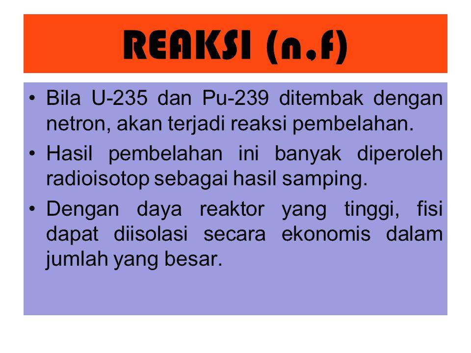REAKSI (n,f) Bila U-235 dan Pu-239 ditembak dengan netron, akan terjadi reaksi pembelahan.
