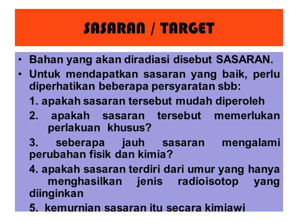 SASARAN / TARGET Bahan yang akan diradiasi disebut SASARAN.