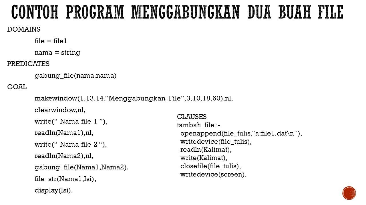 Contoh program menggabungkan dua buah file