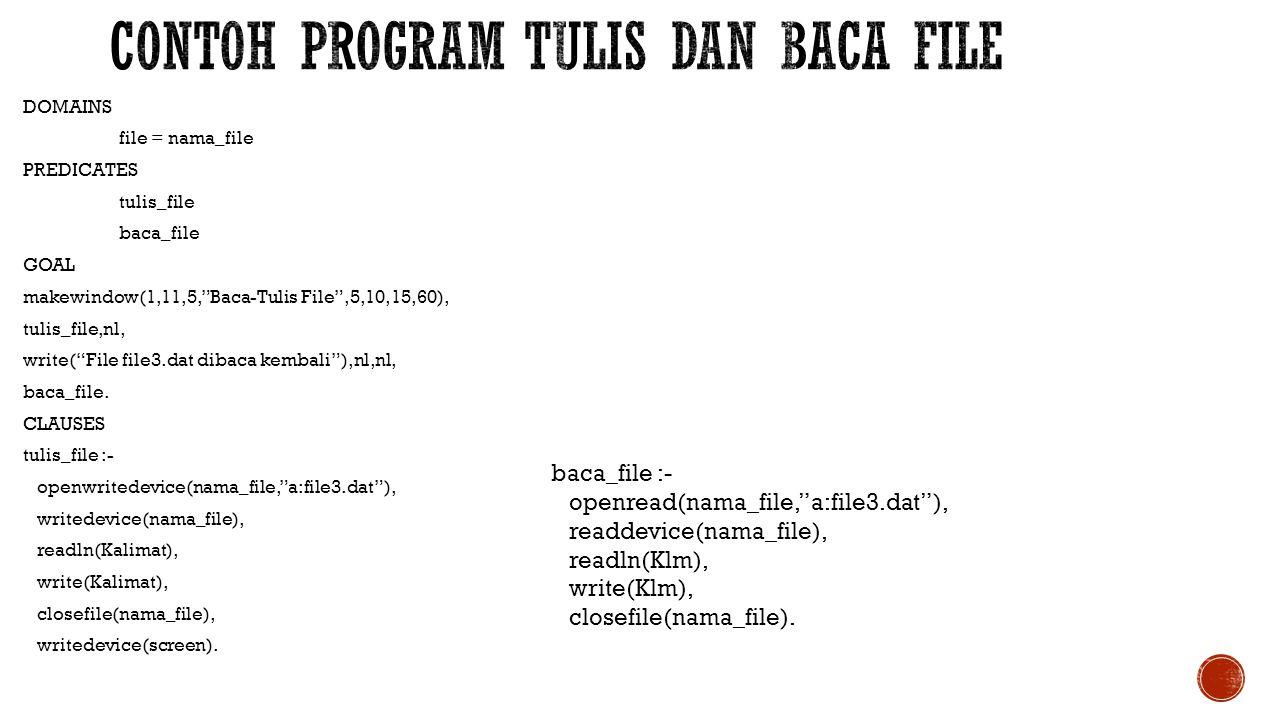 Contoh program tulis dan baca file