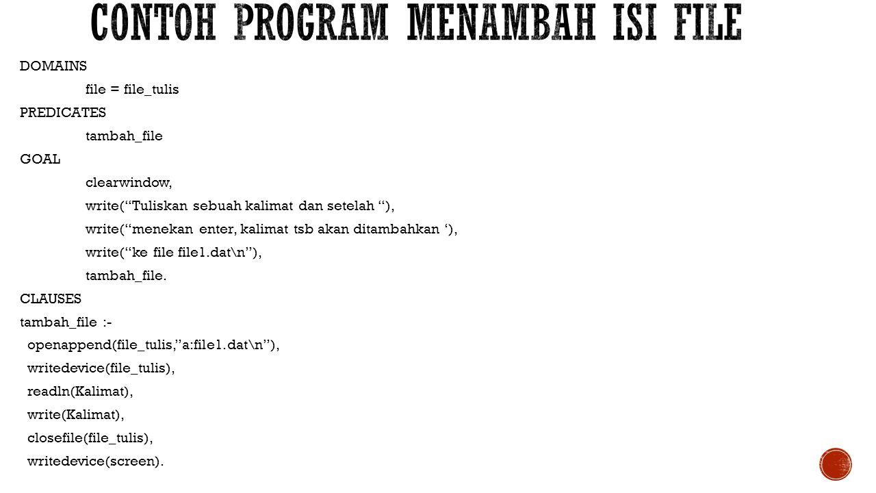 Contoh program Menambah isi file