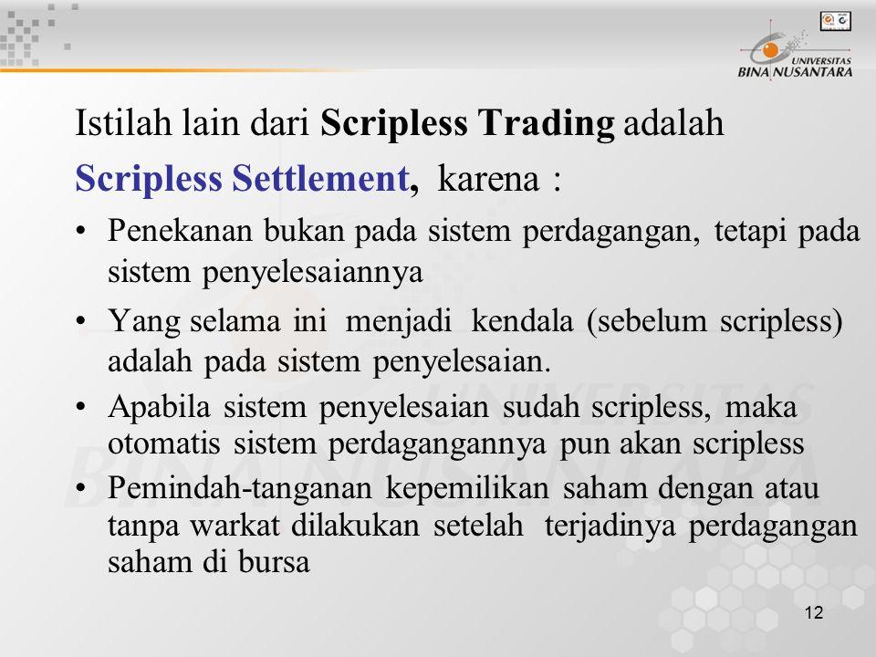 Istilah lain dari Scripless Trading adalah