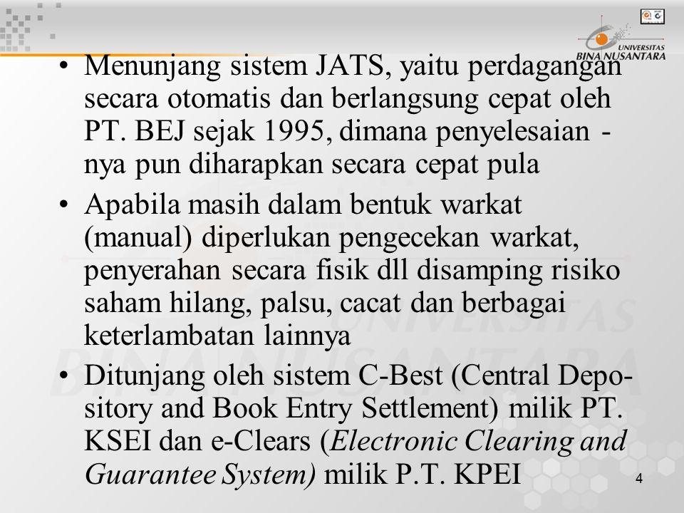 Menunjang sistem JATS, yaitu perdagangan secara otomatis dan berlangsung cepat oleh PT. BEJ sejak 1995, dimana penyelesaian - nya pun diharapkan secara cepat pula
