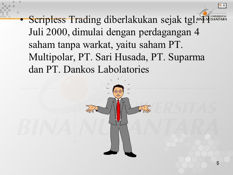 Scripless Trading diberlakukan sejak tgl