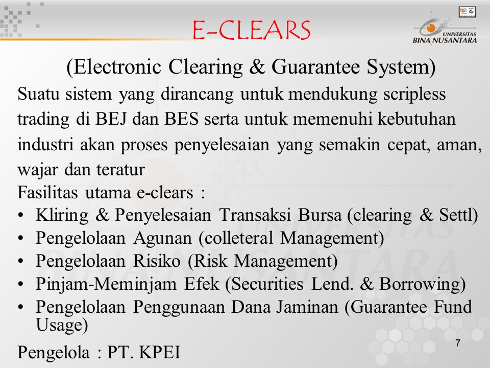 (Electronic Clearing & Guarantee System)