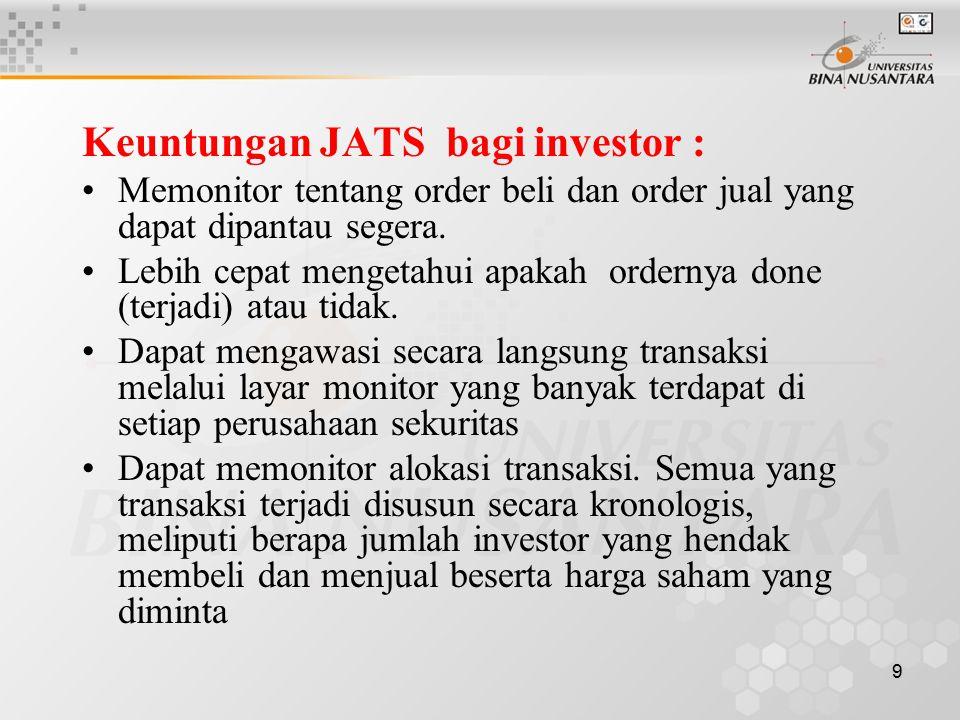 Keuntungan JATS bagi investor :