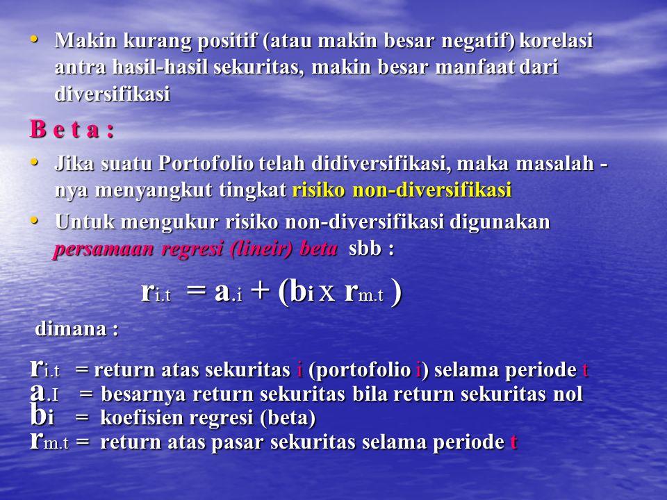 ri.t = return atas sekuritas i (portofolio i) selama periode t