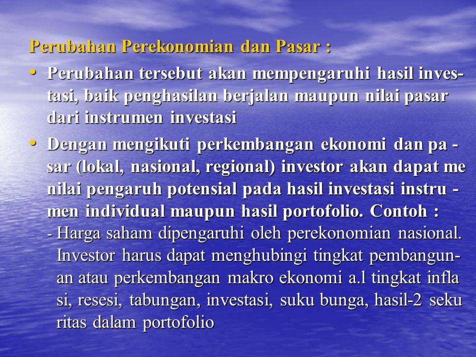 Perubahan Perekonomian dan Pasar :