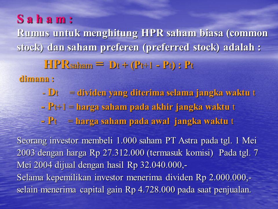 S a h a m : Rumus untuk menghitung HPR saham biasa (common