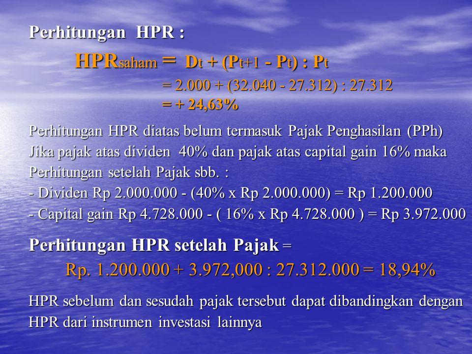 HPRsaham = Dt + (Pt+1 - Pt) : Pt