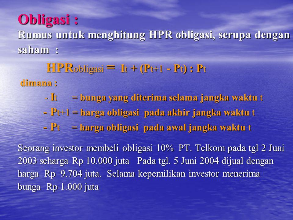 Obligasi : Rumus untuk menghitung HPR obligasi, serupa dengan saham :
