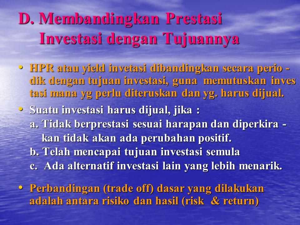 D. Membandingkan Prestasi Investasi dengan Tujuannya