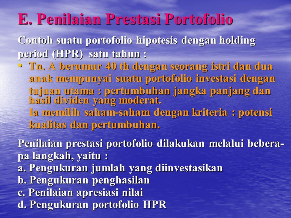 E. Penilaian Prestasi Portofolio