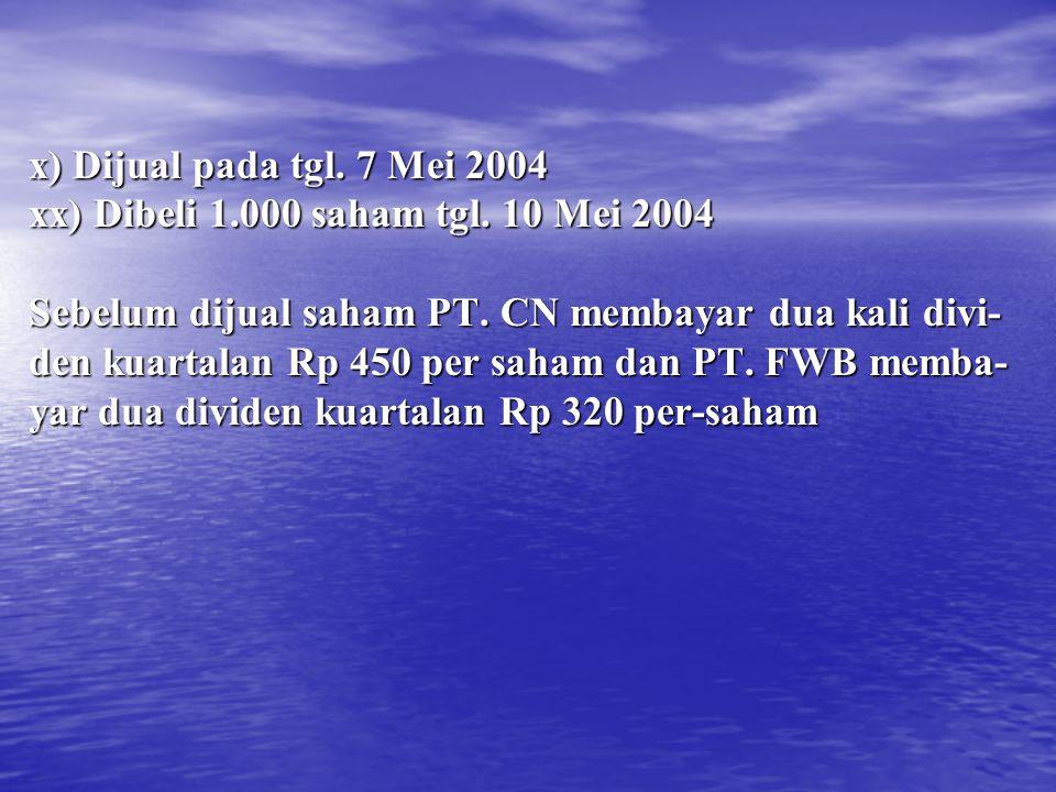 x) Dijual pada tgl. 7 Mei 2004 xx) Dibeli 1.000 saham tgl. 10 Mei 2004. Sebelum dijual saham PT. CN membayar dua kali divi-