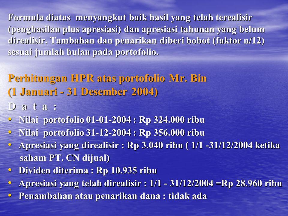 Perhitungan HPR atas portofolio Mr. Bin (1 Januari - 31 Desember 2004)