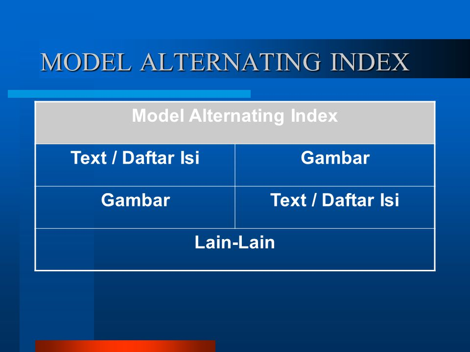 MODEL ALTERNATING INDEX