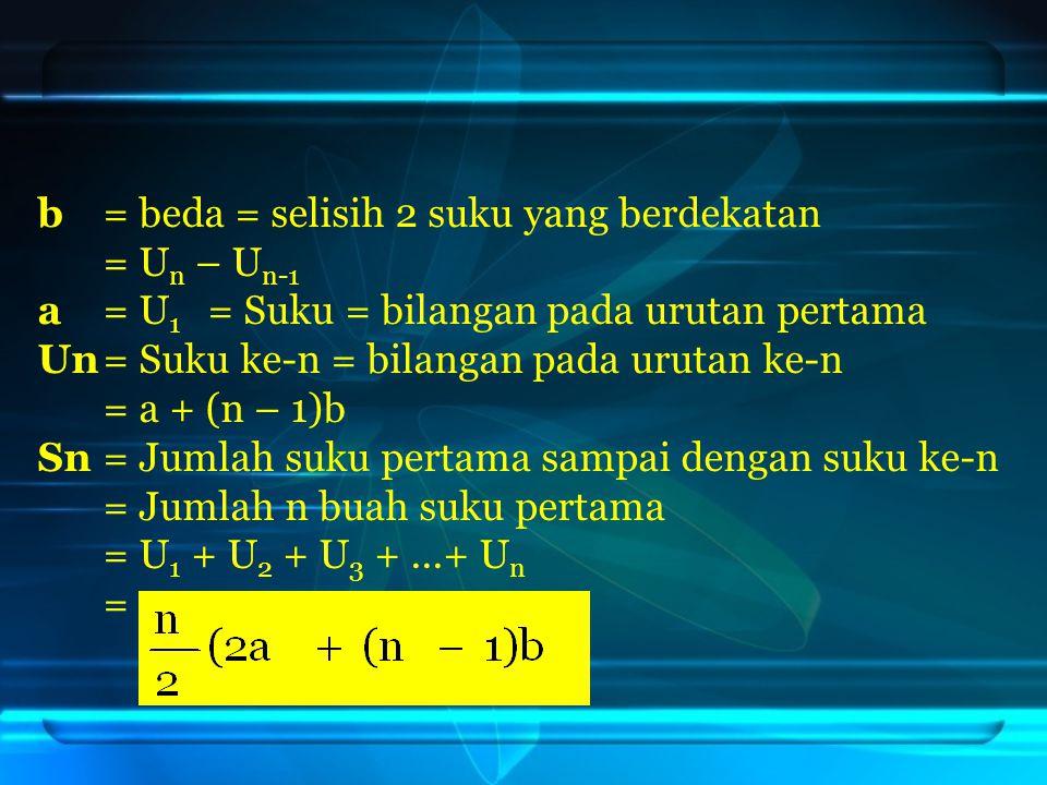 b = beda = selisih 2 suku yang berdekatan