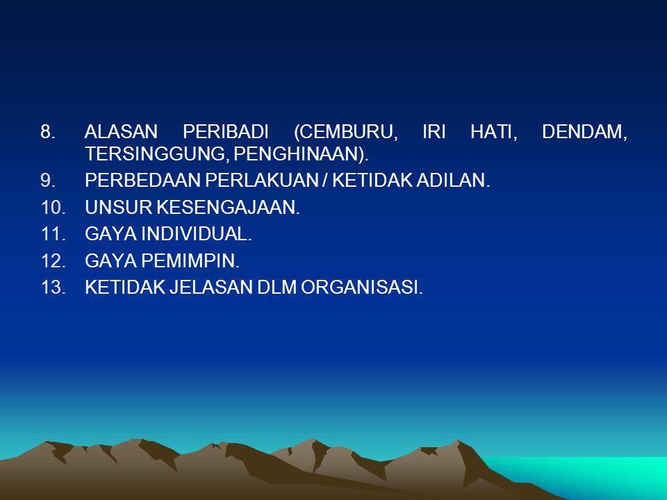 8. ALASAN PERIBADI (CEMBURU, IRI HATI, DENDAM, TERSINGGUNG, PENGHINAAN).
