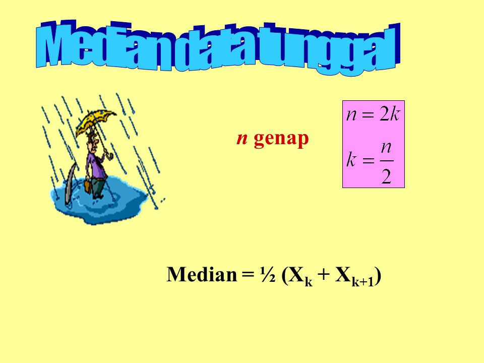 Median data tunggal n genap Median = ½ (Xk + Xk+1)
