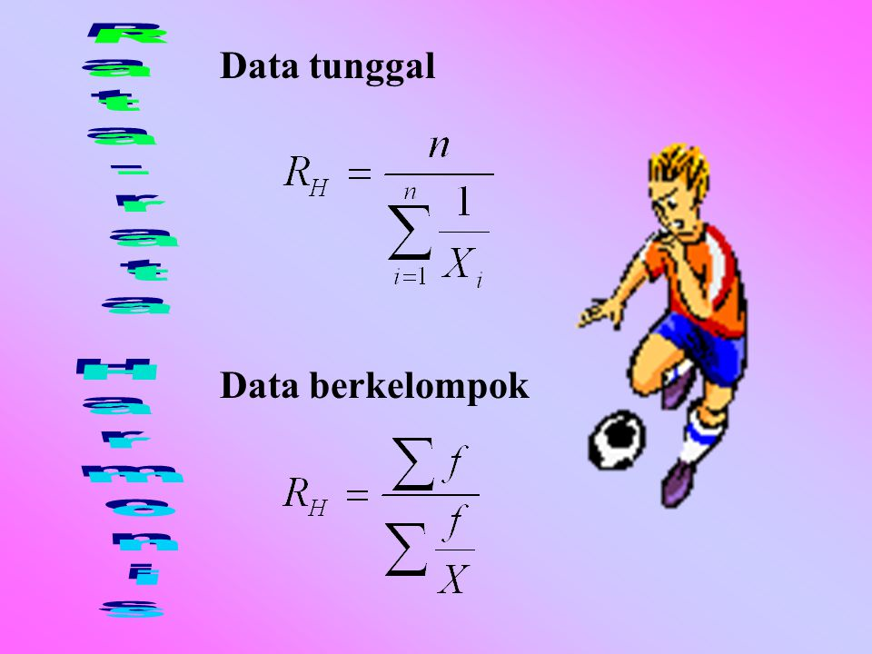 Data tunggal Rata-rata Harmonis Data berkelompok