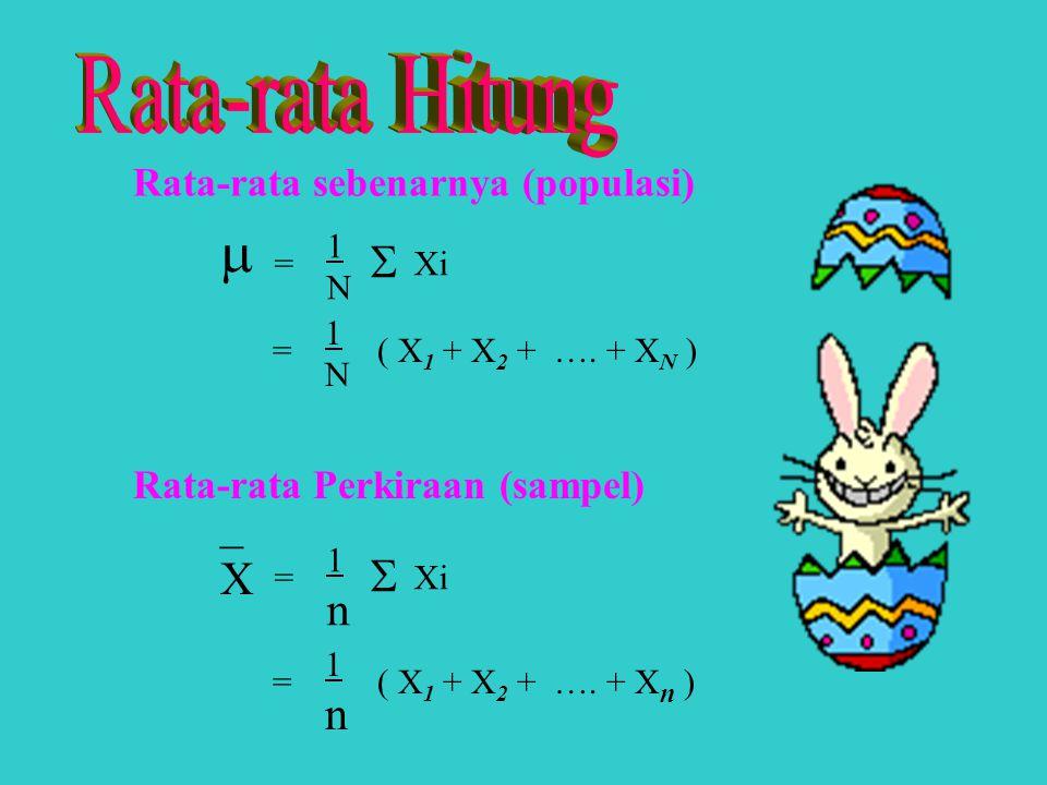 Rata-rata Hitung _ X n n Rata-rata sebenarnya (populasi)