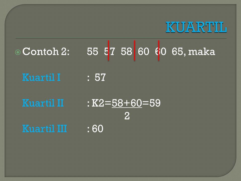 KUARTIL Contoh 2: 55 57 58 60 60 65, maka Kuartil I : 57