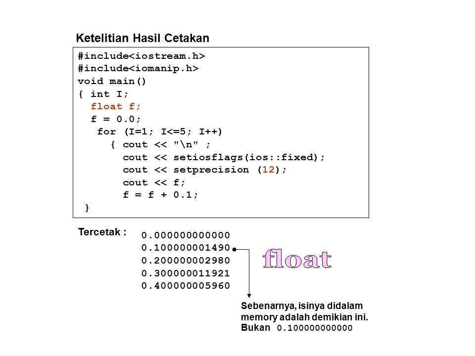 float Ketelitian Hasil Cetakan #include<iostream.h>