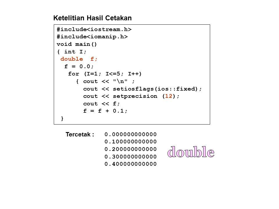 double Ketelitian Hasil Cetakan #include<iostream.h>