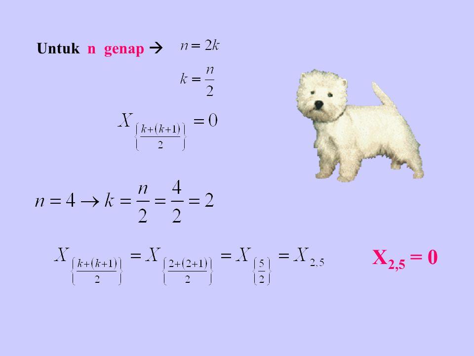 Untuk n genap  X2,5 = 0