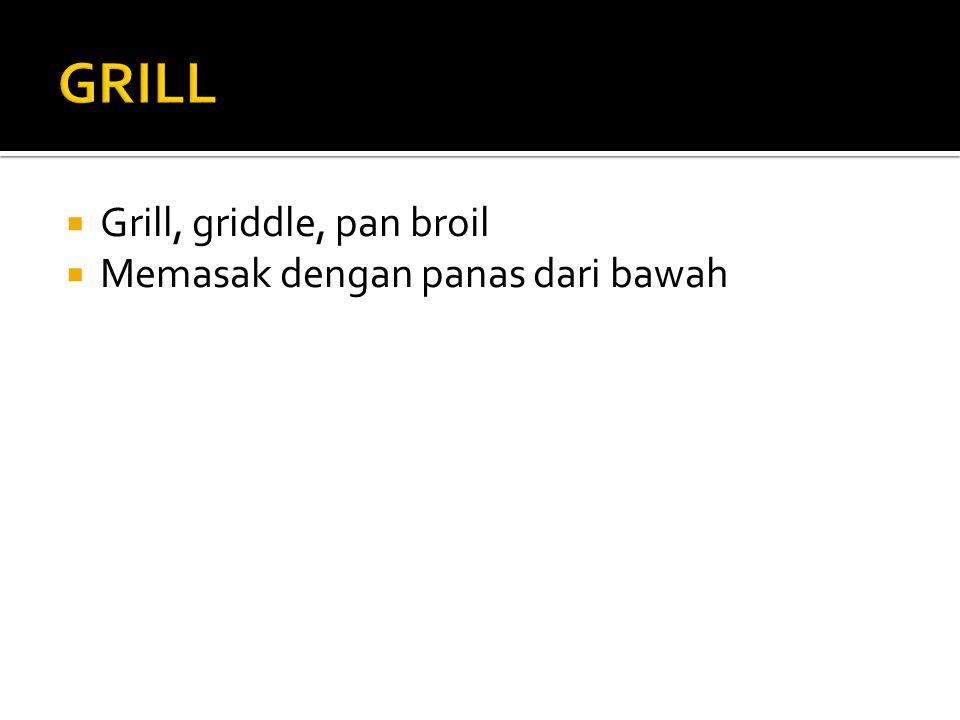 GRILL Grill, griddle, pan broil Memasak dengan panas dari bawah