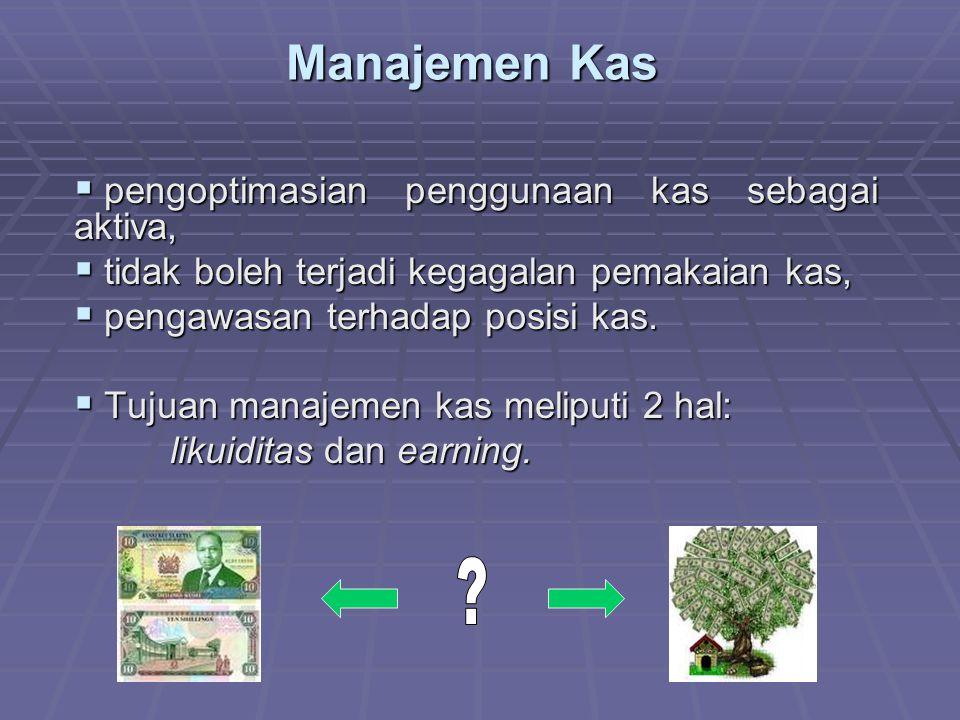 Manajemen Kas pengoptimasian penggunaan kas sebagai aktiva,