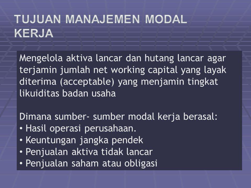 Tujuan Manajemen Modal Kerja
