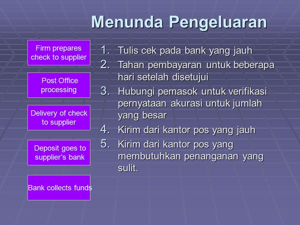 Menunda Pengeluaran Tulis cek pada bank yang jauh