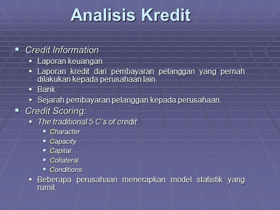 Analisis Kredit Credit Information Credit Scoring: Laporan keuangan