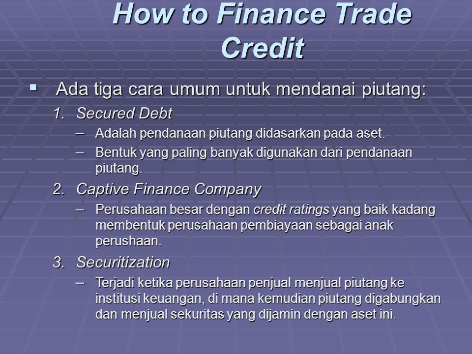 How to Finance Trade Credit