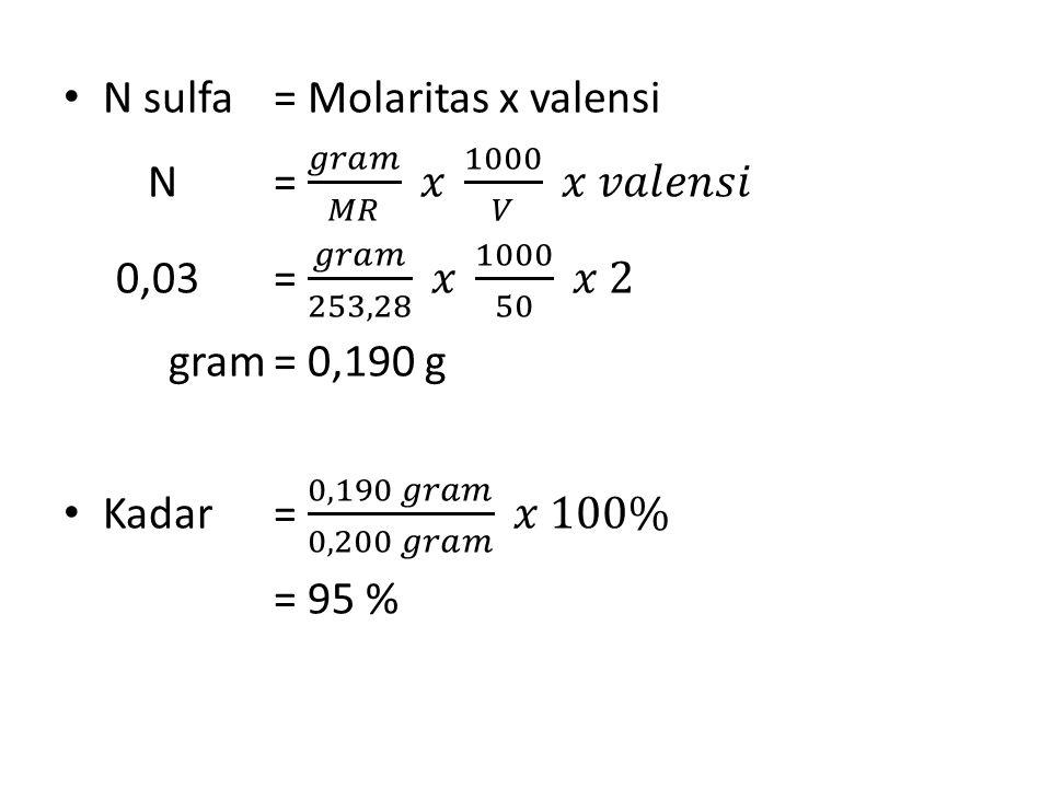 N sulfa = Molaritas x valensi