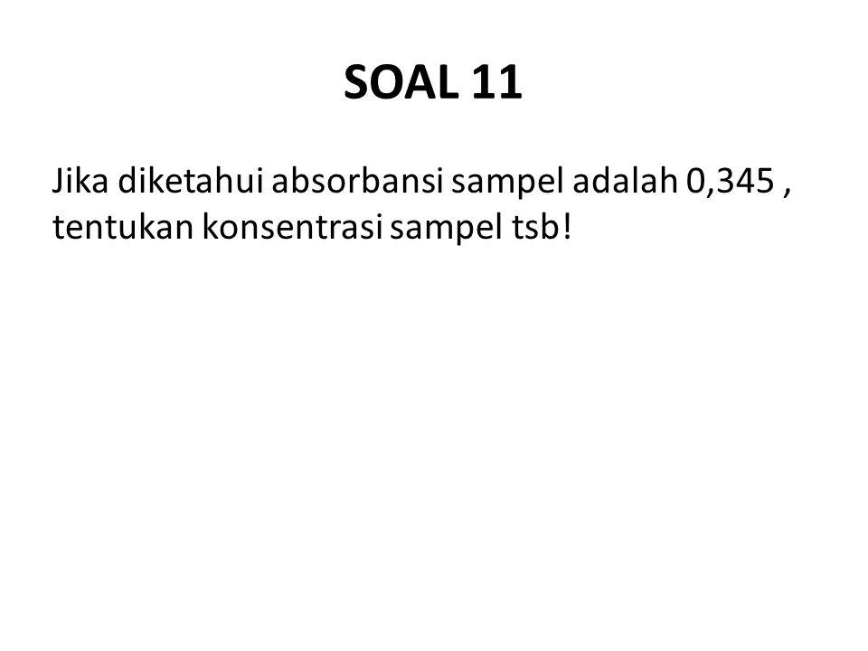 SOAL 11 Jika diketahui absorbansi sampel adalah 0,345 , tentukan konsentrasi sampel tsb!
