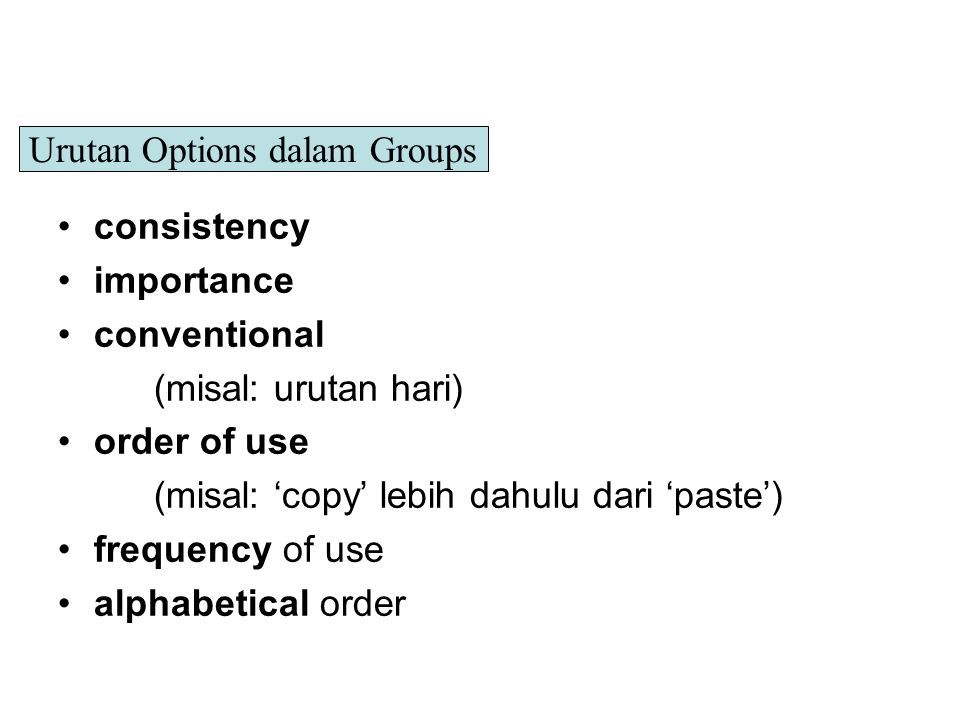 Urutan Options dalam Groups