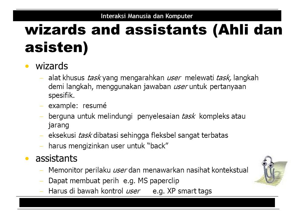 wizards and assistants (Ahli dan asisten)
