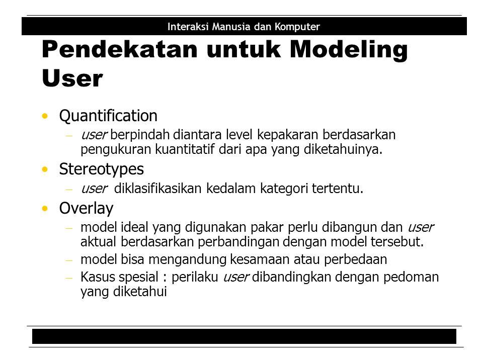 Pendekatan untuk Modeling User