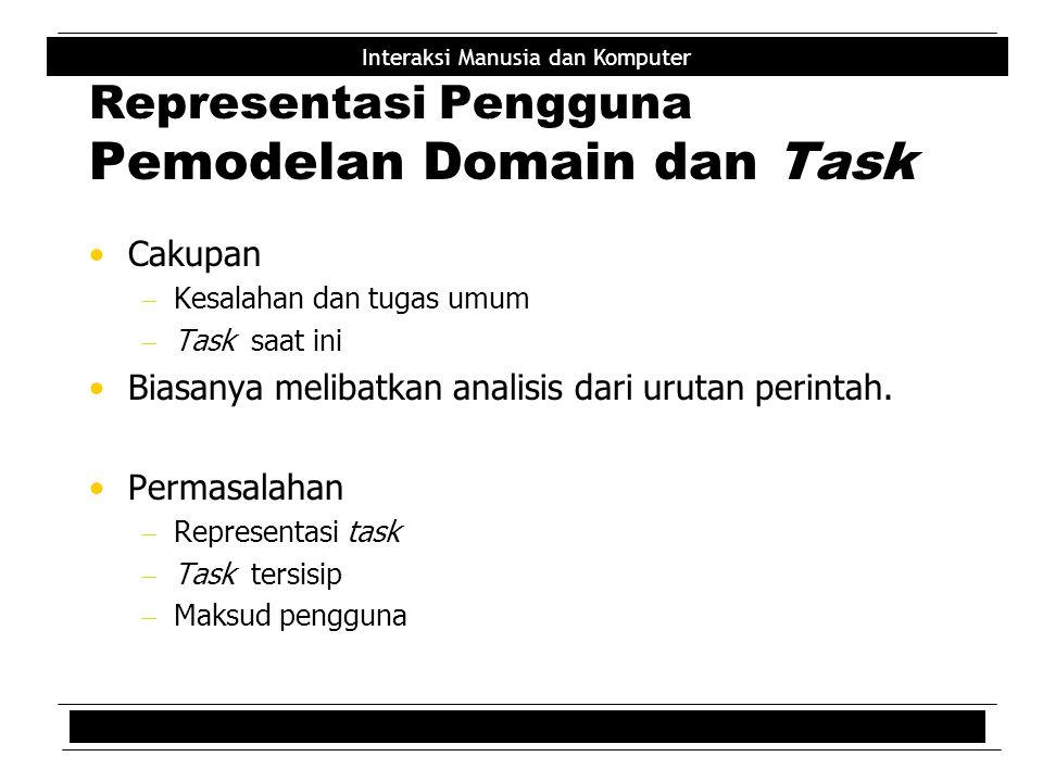 Representasi Pengguna Pemodelan Domain dan Task